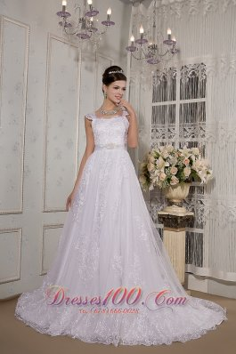 Lace Square Neck Straps Court Train Wedding Gown