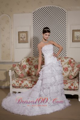 Court Train Organza And Lace Bridal Gown A-line Strapless