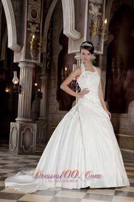Halter Taffeta Appliques With Beading Court Train Bridal Dress