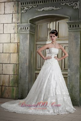 Customize Strapless Chapel Train Lace Bridal Gown A-line