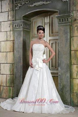 Strapless Organza Princess Appliques Chapel Train Wedding Gown
