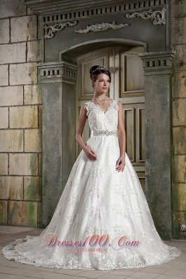 V-neck Princess Chapel Train Bridal Dress Lace Beading