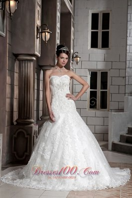 Sweetheart Lace Beading Chapel Train Bridal Wedding Gown