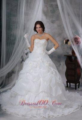 Organza Strapless Chapel Train Wedding Dress Handle Flowers