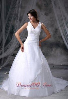 V-neck Chapel Train Ball Gown Bridal Dress Organza And Satin