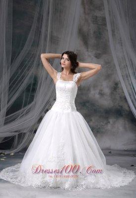 Straps Chapel Train Bridal Wedding Dress Princess Appliques