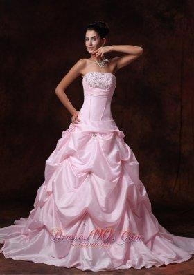 Pink Strapless Taffeta Pick-ups Chapel Train Wedding Gown A-line