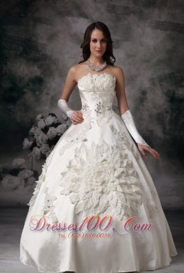 Strapless Satin Ball Gown Bridal Dress Appliques Custom Made
