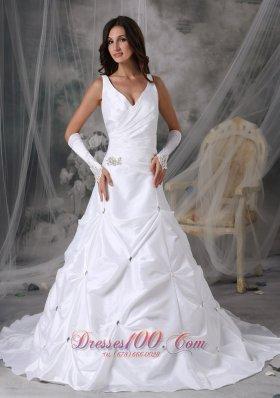 V-neck Taffeta Pick-ups Bridal Dress Court Train Beading