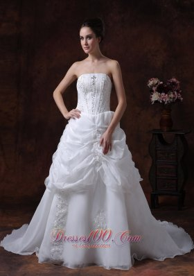 Strapless A-line Organza Bridal Dress With Beading Court Train
