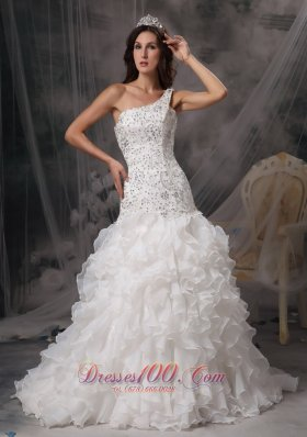 Beading One Shoulder Organza Ruffles Court Train Bridal Dress