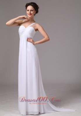 Chiffon One shoulder Watteau Train Wedding Bridal Dress