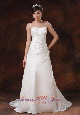 Ruched Brush Train Princess Bridal Dress With Spaghetti Straps