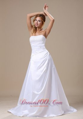 Strapless Beaded Appliques Wedding Gown With Brush Train