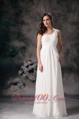 One Shoulder Column Chiffon Wedding Dress Floor Length Ruched