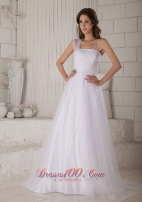 A-line One Shoulder Special Fabric Court Train Bridal Dress