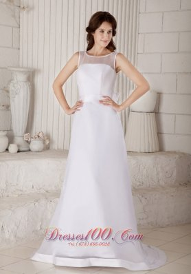 Scoop Neck Brush Train Organza Bridal Gown Floor-length