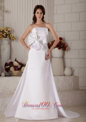 Strapless Beading and Bow Princess Wedding Dress Court Train Satin