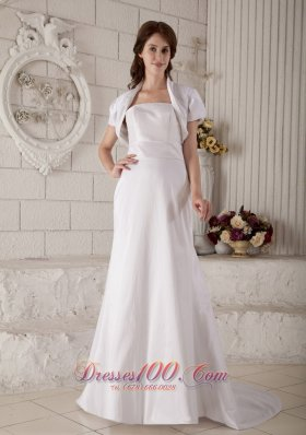 A-line Satin Strapless Wedding Dress Court Train