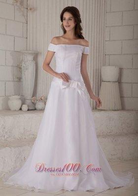 Impressive Off The Shoulder Organza Wedding Gown Court Train