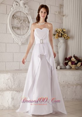 Dressy Satin Sweetheart Floor-length Bridal Wedding Gown Belt