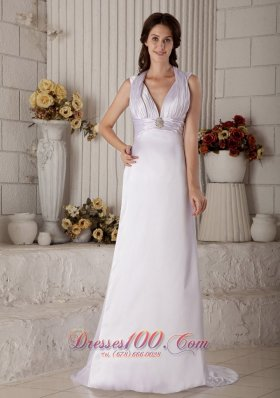 Halter Top Brush Tiran Satin Ruched Beading Bridal Dress
