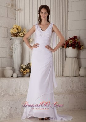 Slim V-neck Straps Chiffon Bridal Gown With Brush Train