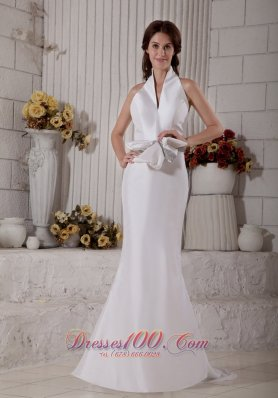 Mermaid Halter Top Satin Brush Train Bridal Gown With Bow