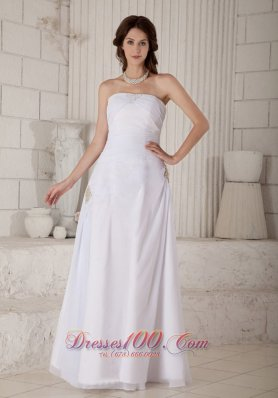 Floor-length Chiffon Bridal Gown Ruch And Beading Strapless