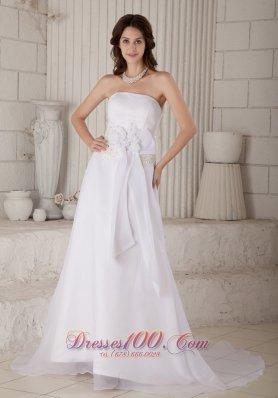 Strapless Court Train Organza Wedding Gown With Handle Flowers