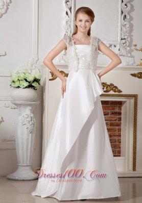 Beading And Bowknot Strapless Taffeta Brush Train Wedding Gown