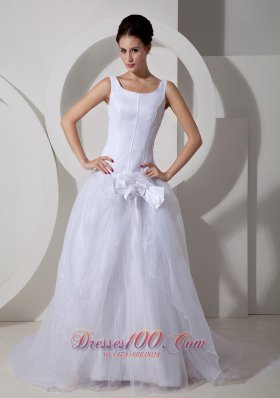Scoop Neck Court Train Princess Bridal Gown With Tulle