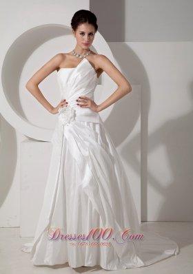 Strapless Satin Court Train Bridal Wedding Gown Handle Flower