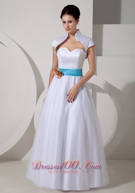 sweetheart sash a line bridal wedding dress taffeta
