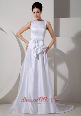 Bridal Wedding Gown Bateau Neck Brush Train Satin