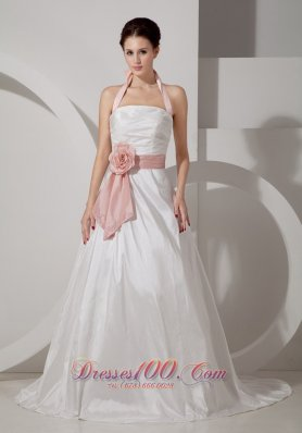 Halter Top Rucched Sash Wedding Dress With Court Train