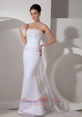 Mermaid Strapless Wedding Bridal Gown With Watteau Train