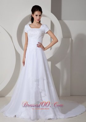 Short Sleeves Square A-line Wedding Gown Beading Ruch Court Train