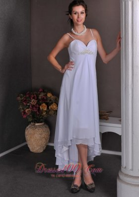 Slim Spaghetti Straps Beach Wedding Dress Chiffon Beading