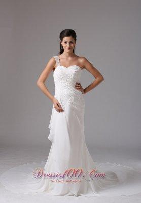 Appliques One Shoulder Chiffon Court Train Bridal Wedding Dress