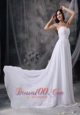 Court Train Chiffon Sweetheart Appliques Ruch Bridal Wedding Gown