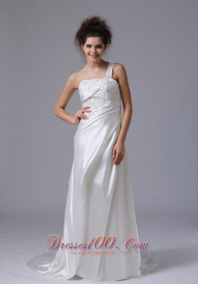 One Shoulder Beading Taffeta Bridal Wedding Gown With Court Train