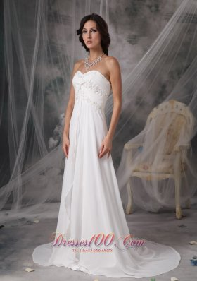Court Train Chiffon Sweetheart Appliques Wedding Bridal Gown