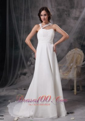 Asymmetrical Straps Chiffon Ruch Wedding Gown With Court Train