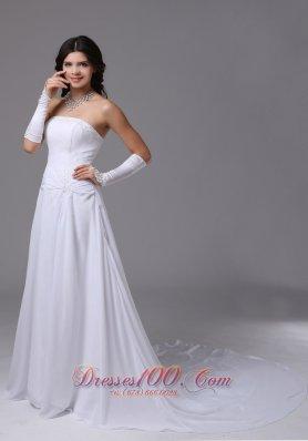 Strapless Chiffon Wedding Bridal Dress With Chapel Train