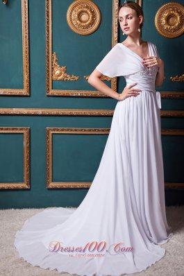 V-neck Chiffon Court Train Bridal Wedding Dress with Appliques
