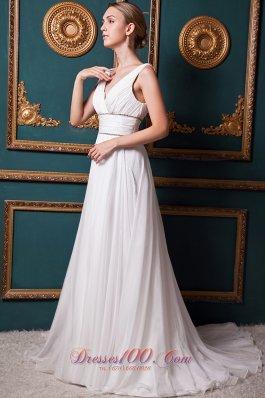 Brush Train V-neck Organza Bridal Wedding Dress Beading