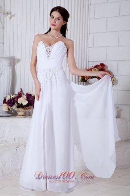 Brush Train Chiffon Wedding Gown Sweetheart Empire Appliques