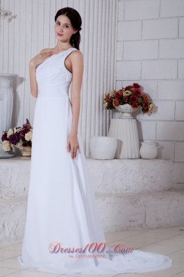 Chiffon One Shoulder Column Bridal Dress Brush Train Appliques