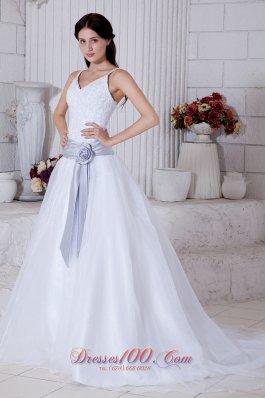 Straps Princess Organza Bridal Wedding Dress Court Train Sashes